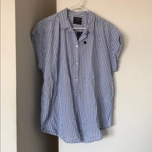 Abercrombie Short-Sleeve Button-Down, Striped, L